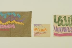 Dettagli di Giorgio Griffa alla mostra Opere 1969....Allo Spazioborgogno in collaborazione con la Galleria Fumagalli. 2013.