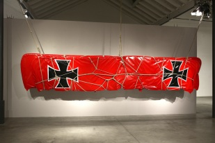 Revolting Mass (German Fokker), 2015 Blow-dried PVC fabric, Tyleen tubes, cords. 650 cm x 41 cm x 130 cm.