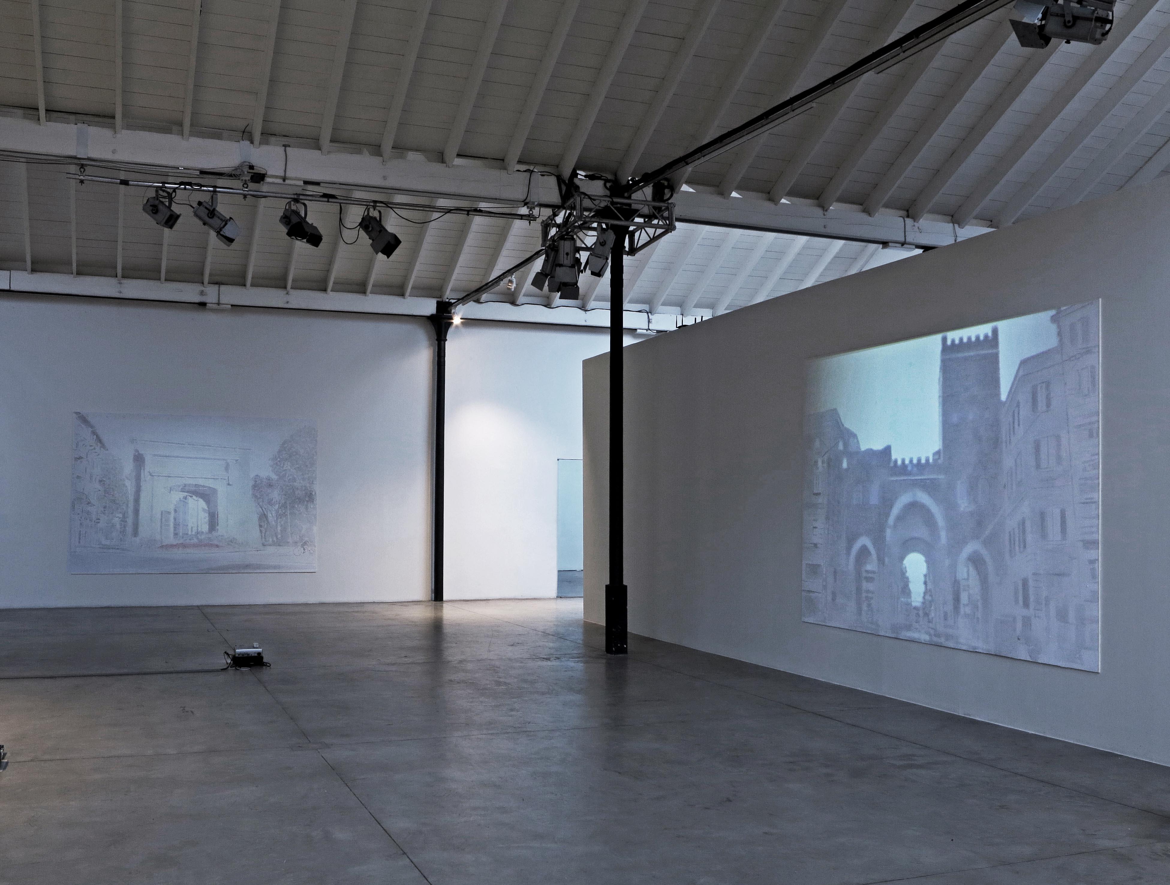 Veduta parziale della mostra porta romana porta ticinese videoproiezione e acrilico su tavola - Mostra della porta ...